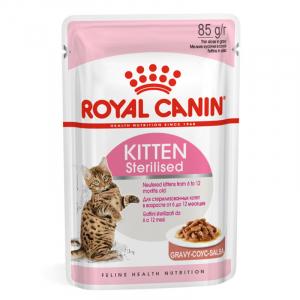 Пауч для котят, Royal Canin Kitten Sterilised, для стерилизованных котят с момента операции до 12 месяцев (в соусе)