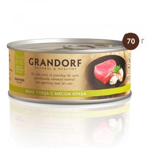 Консервы для кошек, Grandorf, с филе тунца и мясом краба