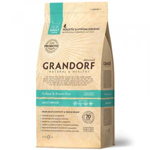Grandorf indoor, 4 вида мяса с бурым рисом, с пробиотиками