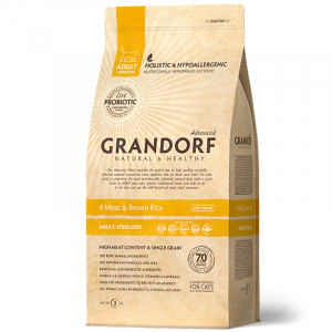 Grandorf Sterilized, 4 вида мяса, с бурым рисом, с пробиотиками