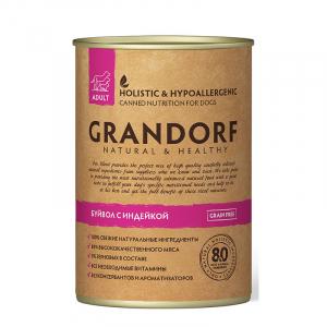 Влажный корм для взрослых собак, Grandorf BUFFALO & TURKEY, с буйволом и индейкой
