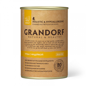 Влажный корм для взрослых собак, Grandorf Duck & Turkey, с уткой и индейкой