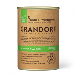 Влажный корм для взрослых собак, Grandorf Lamb & Turkey, с ягненком и индейкой
