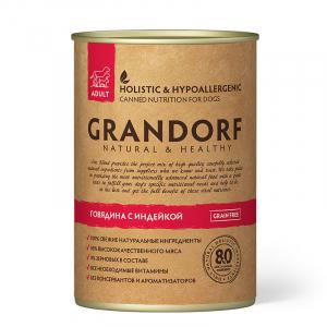 Влажный корм для взрослых собак, Grandorf Beef & Turkey, с говядиной и индейкой