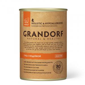 Влажный корм для взрослых собак, Grandorf Goose & Turkey, с гусем и индейкой