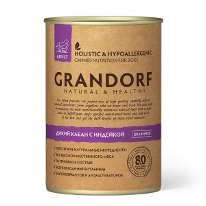 Влажный корм для взрослых собак, Grandorf Wild Boar & Turkey, с кабаном и индейкой
