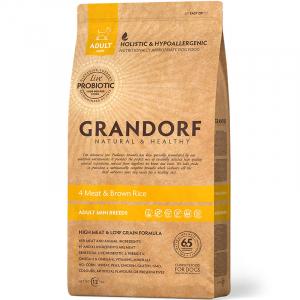Grandorf, Корм для собак мини-пород, 4 вида мяса с бурым рисом, с пробиотиками