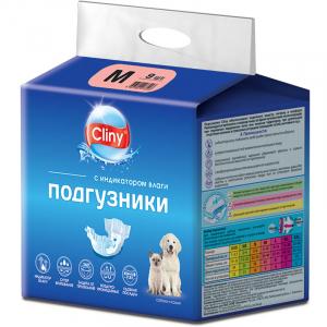 Cliny, Подгузники для Собак и Кошек, 5-10кг, Размер: M